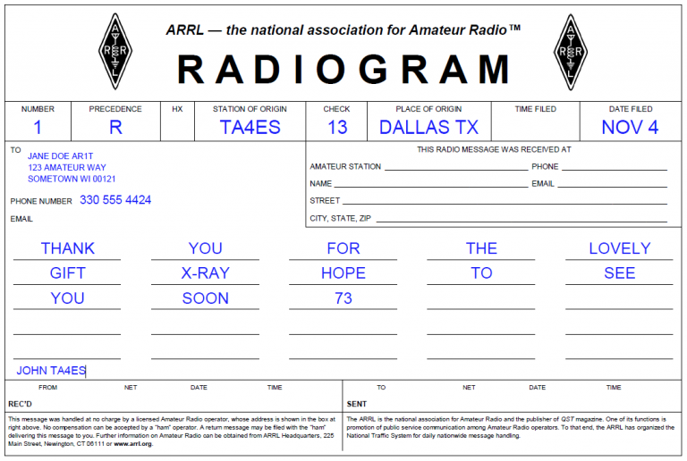 Completed example radiogram.