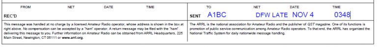 Radiogram's completed SENT information.